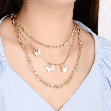 Collar de múltiples capas de cadena de diamantes de mariposa de estilo coreano NHXS371324's discount tags