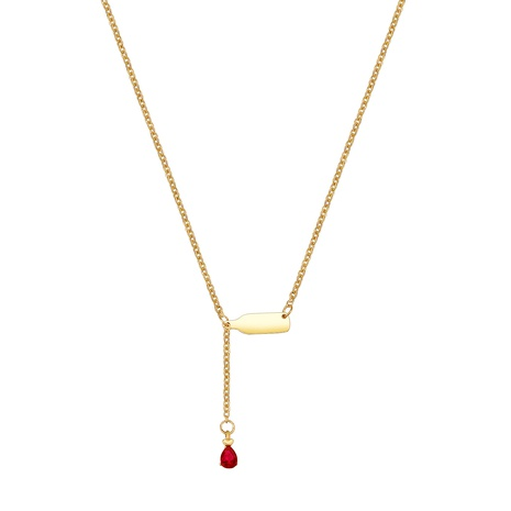 Collar en forma de Y de diamantes con incrustaciones de gota de agua de botella de vino de acero inoxidable de estilo coreano NHXS371347's discount tags