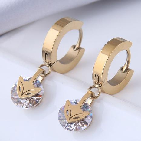 Nihaojewelry Schmuck Großhandel kleiner Fuchs Zirkon Titan Stahl Ohrringe NHSC374428's discount tags
