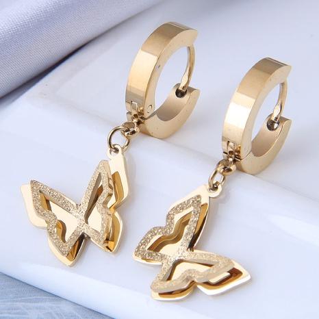 Nihaojewelry Schmuck Großhandel Doppelschicht Schmetterling Titan Stahl Ohrringe steel NHSC374426's discount tags