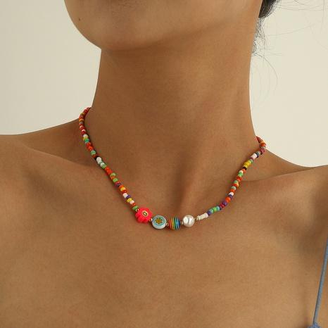einfache bunte weiche keramik smiley glasperlenkette NHQC372916's discount tags
