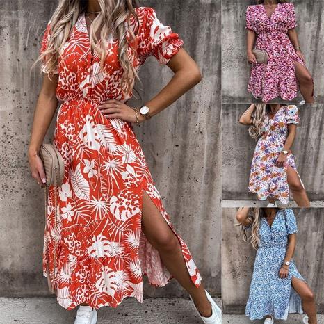 Summer V-neck print dress Women's maxi Dress NHUO372227's discount tags