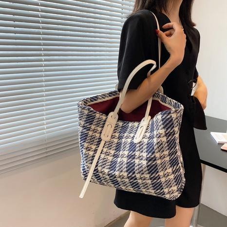 Mode einfache Gitter-Umhängetasche mit großem Fassungsvermögen NHWH371555's discount tags