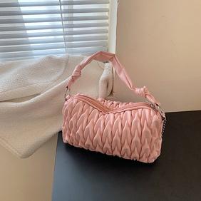 fashion solid color lingge fold one-shoulder bag  NHJZ371573