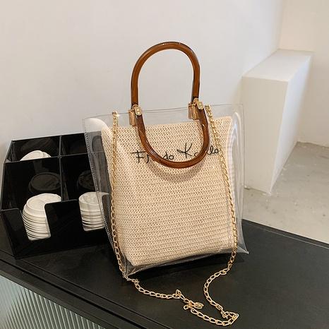 Koreanische Handtasche aus transparentem Stroh mit großem Fassungsvermögen NHJZ371576's discount tags
