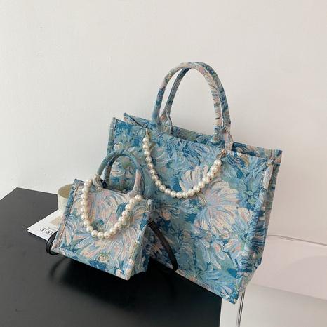 Retro Perlenölgemälde Leinwandhandtasche mit großem Fassungsvermögen NHJZ371580's discount tags