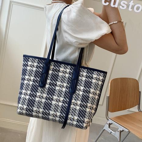 Koreanische karierte Wollstoff-Handtasche mit großem Fassungsvermögen NHLH371634's discount tags