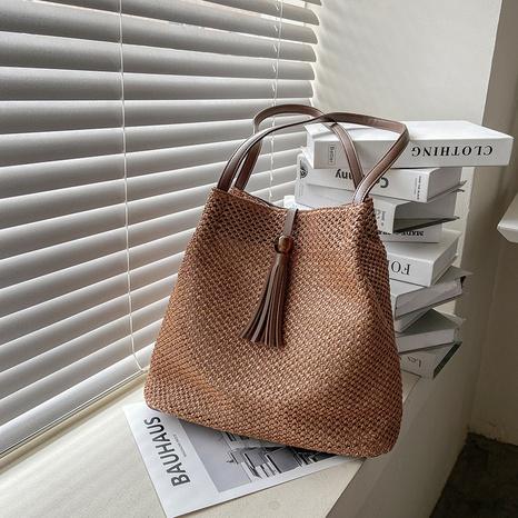 retro tassel straw woven bucket bag  NHLH371655's discount tags