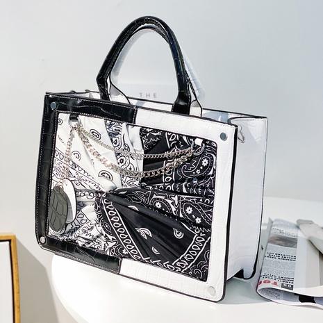 Modische schwarz-weiße Cashew-Blumen-Einkaufstasche NHLH371659's discount tags