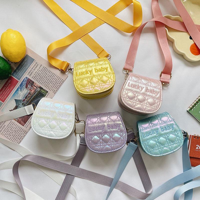 cute embroidery letter shiny messenger mini saddle bag   NHAV371674
