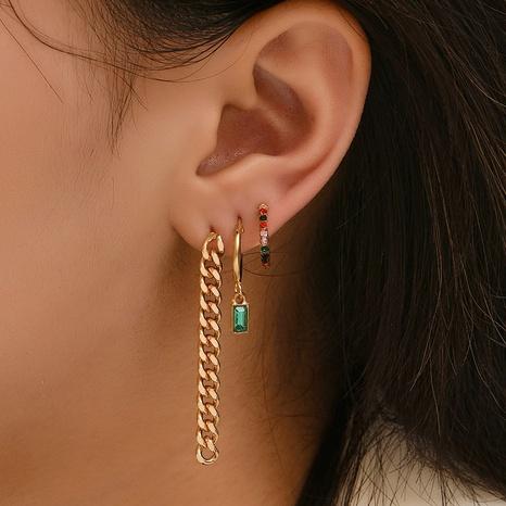 Combinaison de boucles d'oreilles diamant en alliage géométrique coréen NHAJ372918's discount tags
