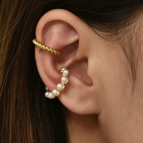 Großhandel Schmuck einfache Perle Ohrclip Set Nihaojewelry NHAJ374891's discount tags