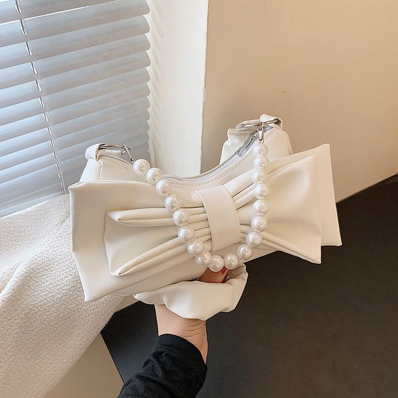 fashion solid color bow knot shoulder bag  NHRU371795