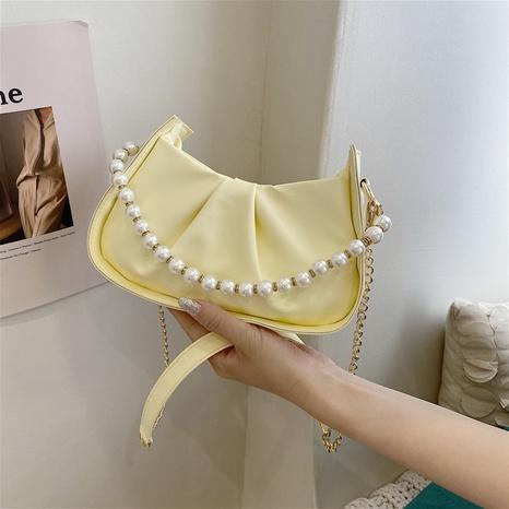 Mode einfarbig Perlenkette Achseltasche NHRU371818's discount tags