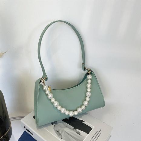 Einfache einfarbige Achseltasche mit Perlenkette NHRU371820's discount tags
