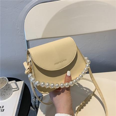 Koreanische einfarbige Messenger-Satteltasche mit Perlenkette NHRU371829's discount tags