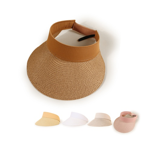 Korean style cloth empty top wide-brimmed sunscreen straw hat  NHTQ371891's discount tags