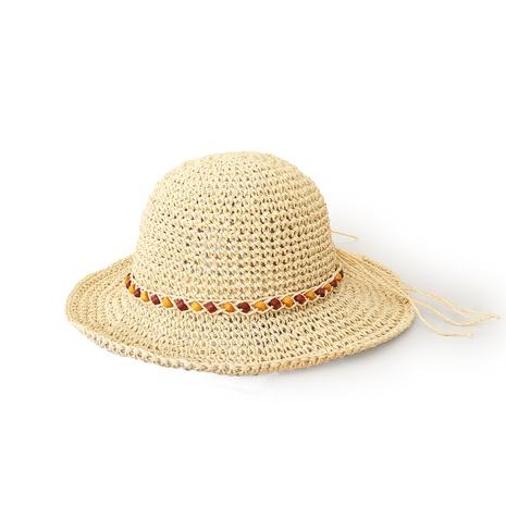 Korean style sunshade sunscreen chain plain weave straw hat  NHTQ371895's discount tags