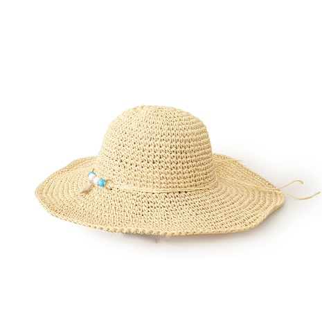 Korean style wide-brimmed sunscreen handmade straw hat  NHTQ371896's discount tags