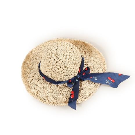 Korean style sunscreen cherry streamer straw hat NHTQ371897's discount tags