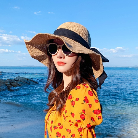 korean style big brim hollow breathable sunscreen straw hat  NHCM371948's discount tags