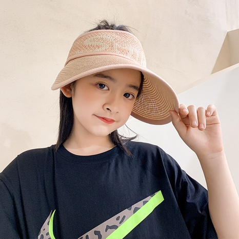 Korean children's papyrus hollow top straw hat  NHCM371953's discount tags