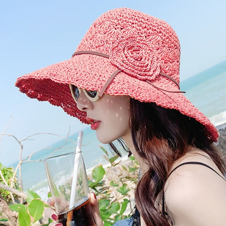 Korean style hollow flower braided straw hat NHCM371960's discount tags