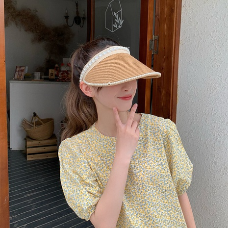 Fashion Pearl Decor Sunshade Sunscreen Straw Hat  NHCM371972's discount tags