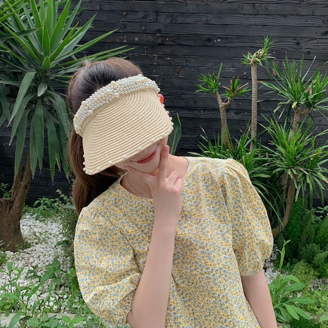 Korean style pearl decor sunscreen sports straw hat NHCM371968's discount tags
