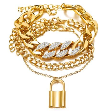 ensemble de 3 pièces de bracelet en diamant à verrouillage de chaîne simple à la mode NHYI372317's discount tags