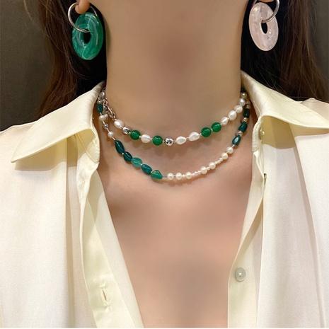 Retro Smaragd Naturstein Perlen gemischte Nahtkette mixed NHANR372339's discount tags