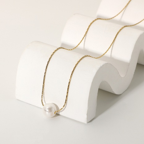 simple 14K stainless steel single pearl pendant necklace  NHJIE372369's discount tags