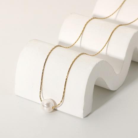 collier simple pendentif perle simple en acier inoxydable 14K NHJIE372369's discount tags
