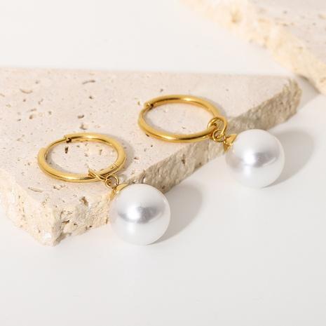 retro bright shell pearl pendant stainless steel hoop earrings NHJIE372375's discount tags