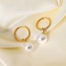 retro bright shell pearl pendant stainless steel hoop earrings NHJIE372375