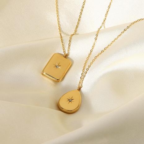 Nouveau collier pendentif étoile en acier inoxydable Zircon en or 18 carats NHJIE372376's discount tags