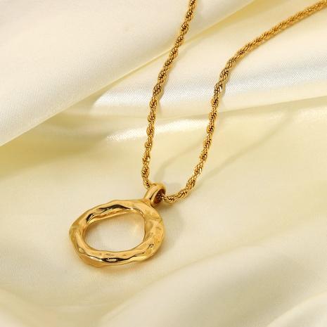 Collier simple en acier inoxydable avec pendentif anneau de lave NHJIE372377's discount tags