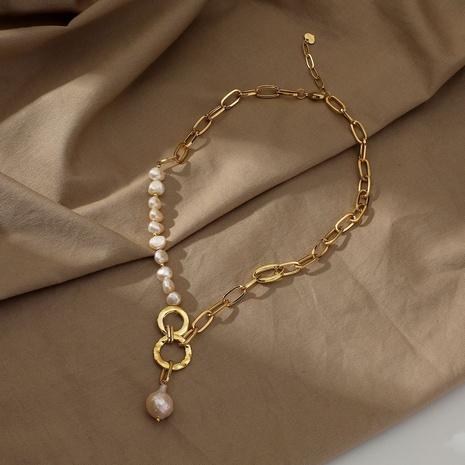 collier en acier inoxydable avec chaîne d'épissage pendentif perle rétro NHJIE372379's discount tags