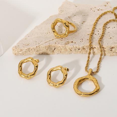 boucles d'oreilles rétro simples en acier inoxydable en or 18 carats NHJIE372380's discount tags