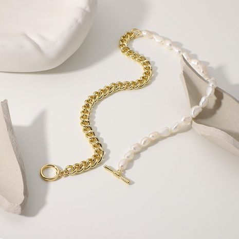 simple half pearl metal splicing chain stainless steel necklace  NHJIE372382's discount tags