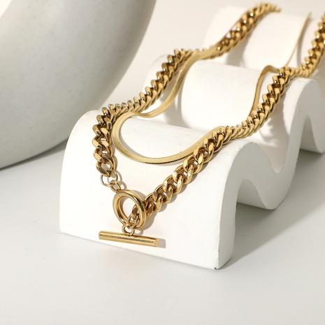 collar de múltiples capas de cadena en forma de serpiente de acero inoxidable NHJIE372383's discount tags