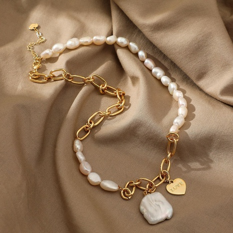 Simple Half Pearl Half Chain Geometric Heart Pendant Necklace  NHJIE372387's discount tags