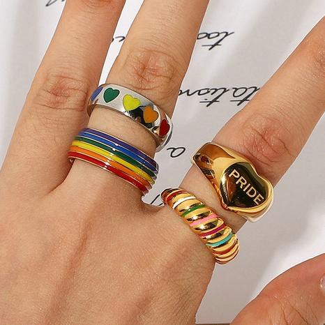 bague en acier inoxydable en or 18 carats avec symbole gay arc-en-ciel de la mode NHJIE372388's discount tags