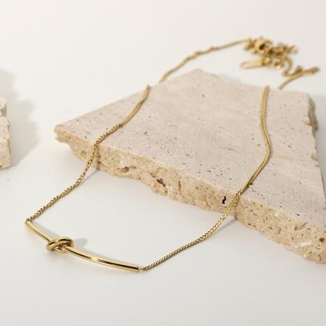 nouveau collier noué en acier inoxydable plaqué or 14 carats NHJIE372396's discount tags