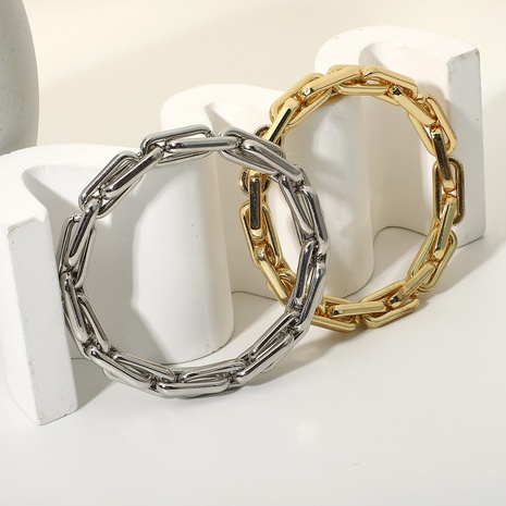 Simple Interlocking Thick Elastic Chain Stainless Steel Bracelet NHJIE372397's discount tags