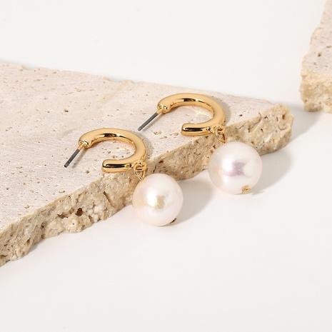 boucles d'oreilles rétro géométriques en cuivre perle d'eau douce NHJIE372398's discount tags
