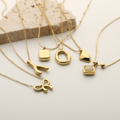 Fashion Variety Shaped Pendant Stainless Steel Necklace  NHJIE372401's discount tags