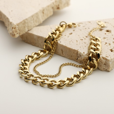 Simple Double Layer Stainless Steel Chain Bracelet NHJIE372402's discount tags