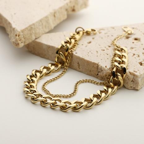 Bracelet chaîne simple en acier inoxydable à double couche NHJIE372402's discount tags