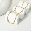 fashion smiley sadness face 14K gold stainless steel necklace  NHJIE372403